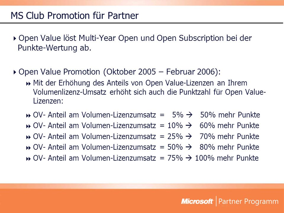 MS Club Promotion für Partner Open Value löst Multi-Year Open und Open Subscription bei der Punkte-Wertung ab.