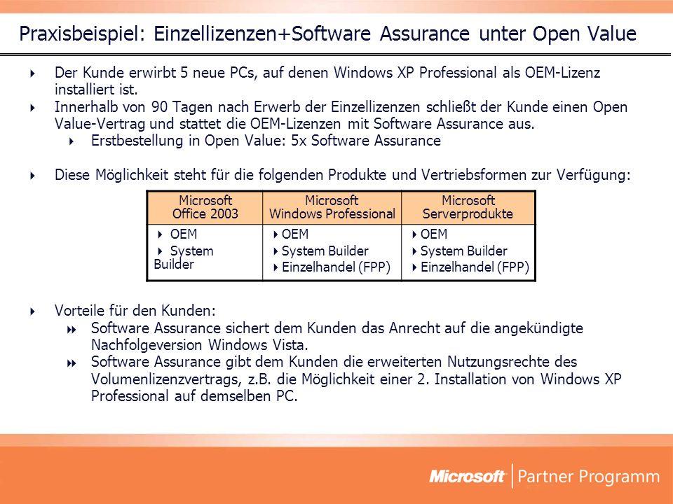Praxisbeispiel: Einzellizenzen+Software Assurance unter Open Value Der Kunde erwirbt 5 neue PCs, auf denen Windows XP Professional als OEM-Lizenz inst
