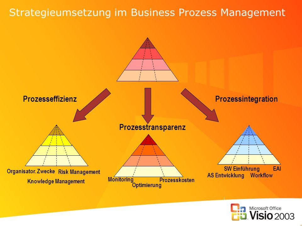 Strategieumsetzung im Business Prozess Management Organisator. Zwecke Knowledge Management Risk Management ProzesseffizienzProzessintegration Prozesst