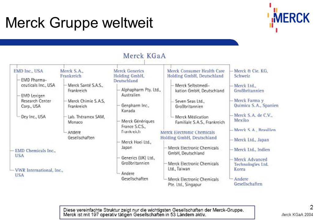 © Merck KGaA 2004 2 Merck Gruppe weltweit