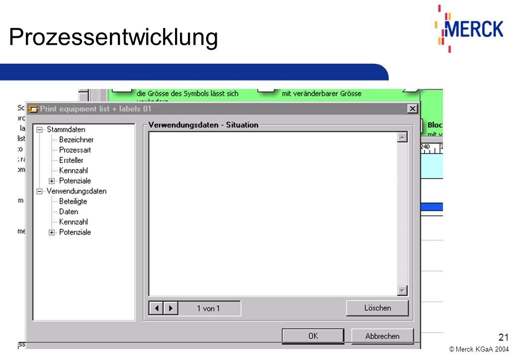 © Merck KGaA 2004 20 Prozessentwicklung