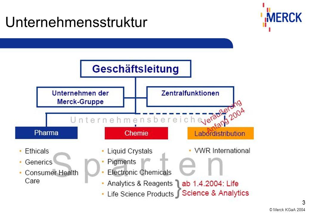 © Merck KGaA 2004 3 Unternehmensstruktur
