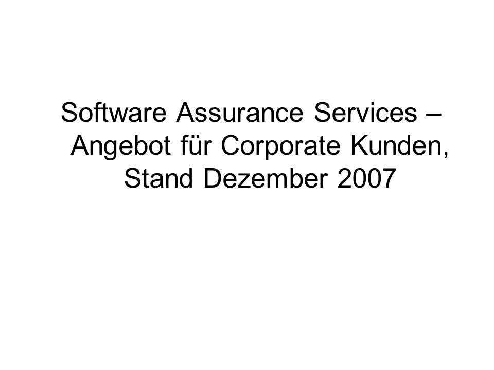 Software Assurance Services – Angebot für Corporate Kunden, Stand Dezember 2007