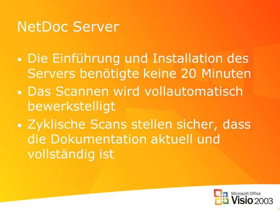 NetDoc Server Die Einführung und Installation des Servers benötigte keine 20 Minuten Das Scannen wird vollautomatisch bewerkstelligt Zyklische Scans stellen sicher, dass die Dokumentation aktuell und vollständig ist