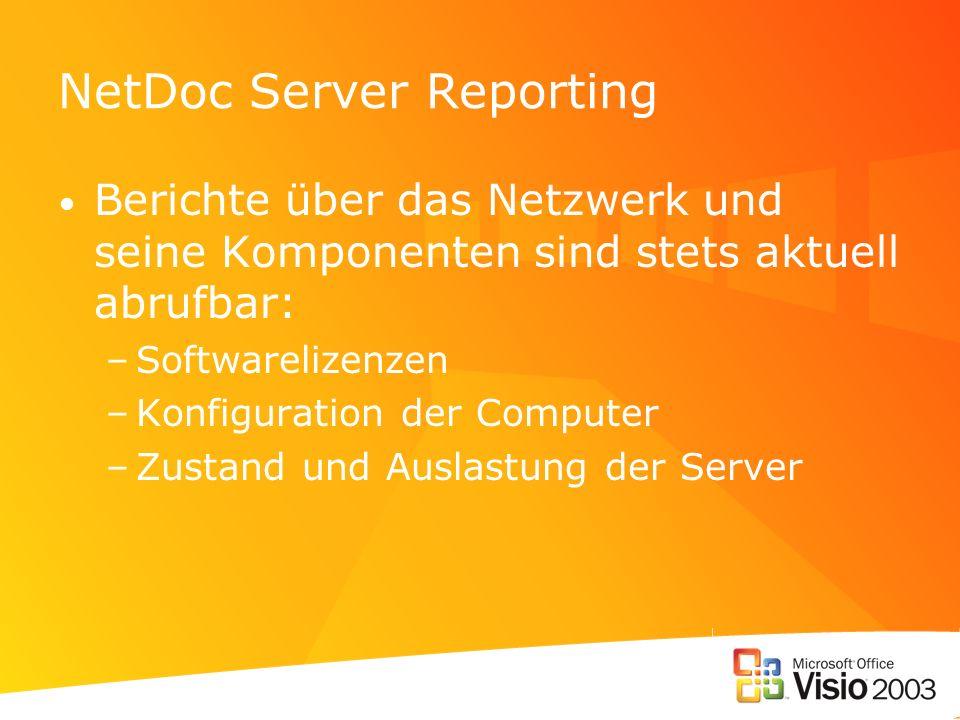 NetDoc Server Reporting Berichte über das Netzwerk und seine Komponenten sind stets aktuell abrufbar: –Softwarelizenzen –Konfiguration der Computer –Zustand und Auslastung der Server