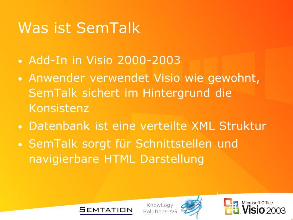 KnowLogy Solutions AG Was ist SemTalk Add-In in Visio 2000-2003 Anwender verwendet Visio wie gewohnt, SemTalk sichert im Hintergrund die Konsistenz Da