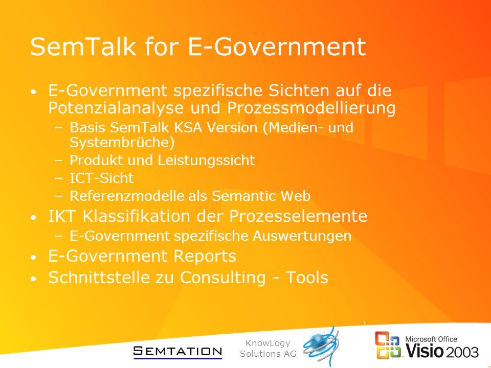 KnowLogy Solutions AG SemTalk for E-Government E-Government spezifische Sichten auf die Potenzialanalyse und Prozessmodellierung –Basis SemTalk KSA Ve