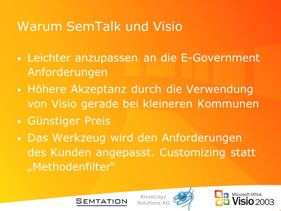 KnowLogy Solutions AG Warum SemTalk und Visio Leichter anzupassen an die E-Government Anforderungen Höhere Akzeptanz durch die Verwendung von Visio ge