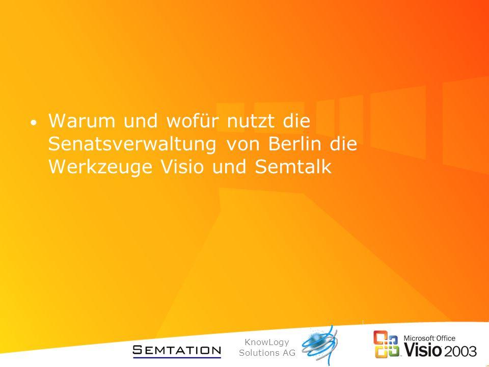 KnowLogy Solutions AG Berliner E-Government-Strategie bürgerfreundliche Verwaltung wirtschaftsfreundliche Verwaltung Überprüfung von Abläufen Geschäftsprozessoptimierung Bereitstellung von einheitlichen Basisdiensten (Formularservice, eBezahlen) Abgestimmte Entwicklung von Fachanwendungen (einer für alle)
