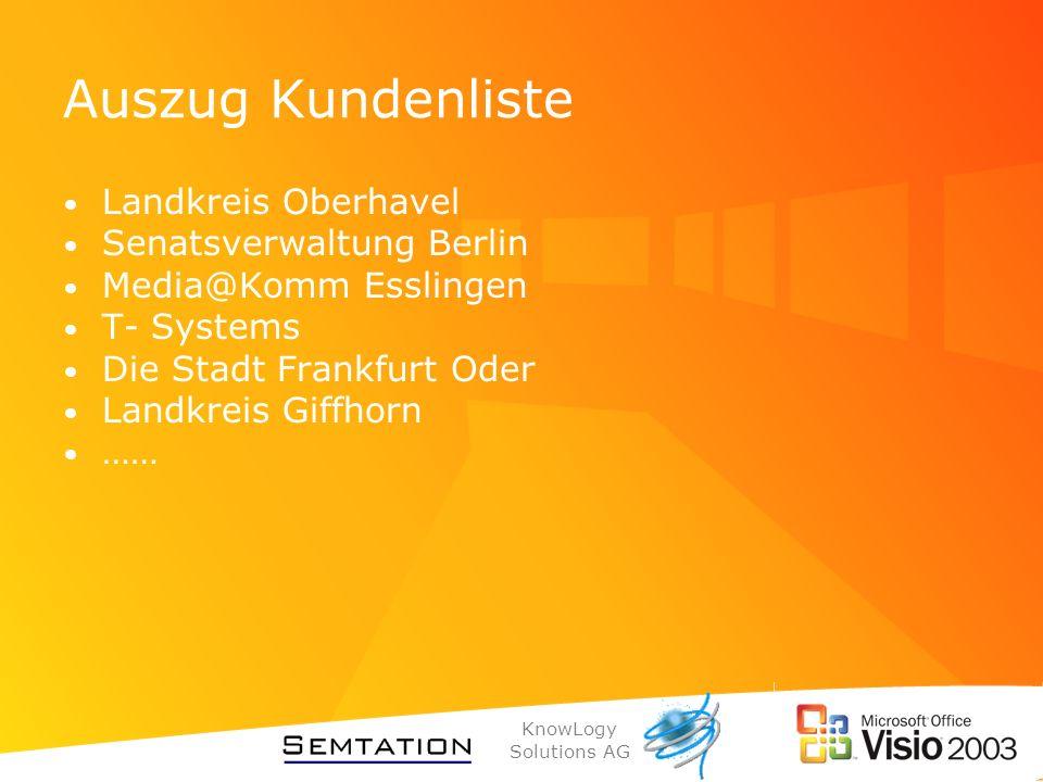 KnowLogy Solutions AG Auszug Kundenliste Landkreis Oberhavel Senatsverwaltung Berlin Media@Komm Esslingen T- Systems Die Stadt Frankfurt Oder Landkrei