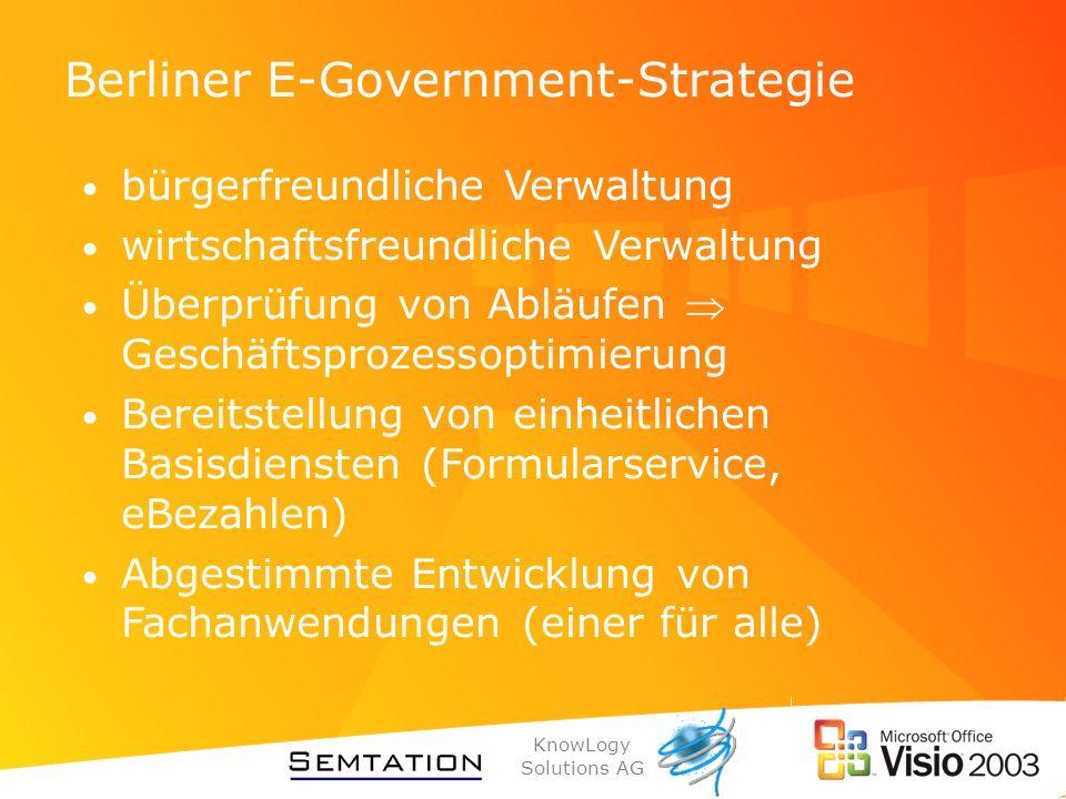 KnowLogy Solutions AG Berliner E-Government-Strategie bürgerfreundliche Verwaltung wirtschaftsfreundliche Verwaltung Überprüfung von Abläufen Geschäft