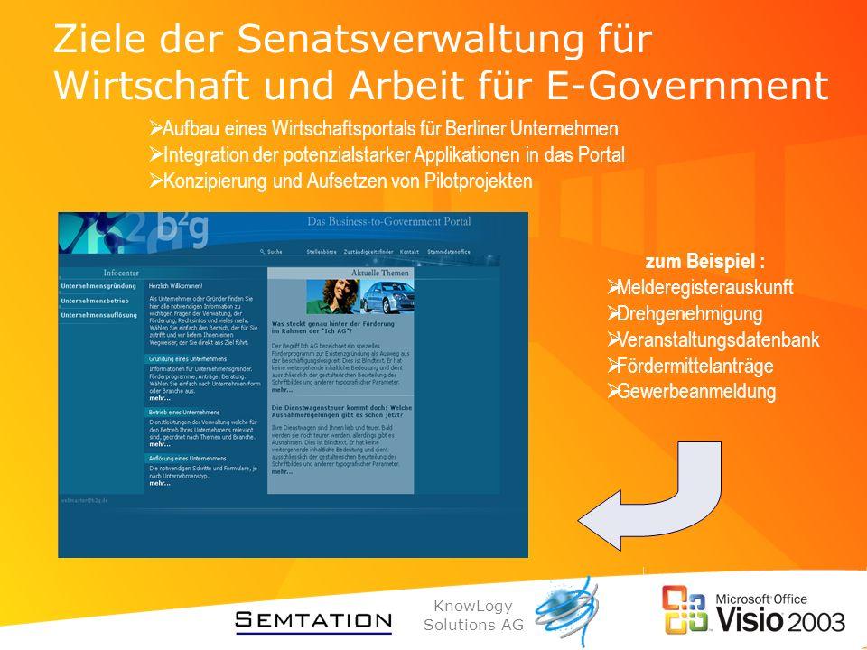 KnowLogy Solutions AG Ziele der Senatsverwaltung für Wirtschaft und Arbeit für E-Government Aufbau eines Wirtschaftsportals für Berliner Unternehmen I