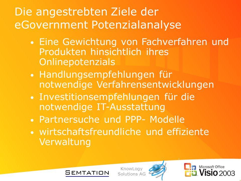 KnowLogy Solutions AG Warum SemTalk und Visio Leichter anzupassen an die E-Government Anforderungen Höhere Akzeptanz durch die Verwendung von Visio gerade bei kleineren Kommunen Günstiger Preis Das Werkzeug wird den Anforderungen des Kunden angepasst.