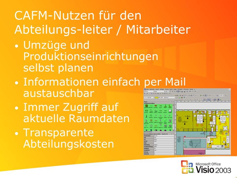 CAFM-Nutzen für den Abteilungs-leiter / Mitarbeiter Umzüge und Produktionseinrichtungen selbst planen Informationen einfach per Mail austauschbar Immer Zugriff auf aktuelle Raumdaten Transparente Abteilungskosten