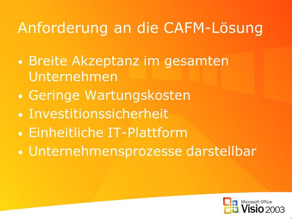 Anforderung an die CAFM-Lösung Breite Akzeptanz im gesamten Unternehmen Geringe Wartungskosten Investitionssicherheit Einheitliche IT-Plattform Unternehmensprozesse darstellbar