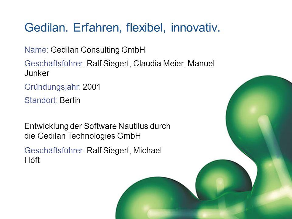 Gedilan. Erfahren, flexibel, innovativ. Name: Gedilan Consulting GmbH Geschäftsführer: Ralf Siegert, Claudia Meier, Manuel Junker Gründungsjahr: 2001