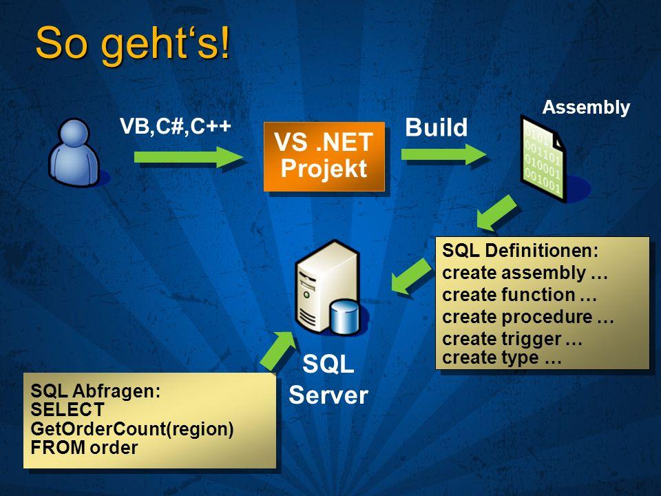 So gehts! SQL Abfragen: SELECT GetOrderCount(region) FROM order VS.NET Projekt VB,C#,C++ Build SQL Server SQL Definitionen: create assembly … create f