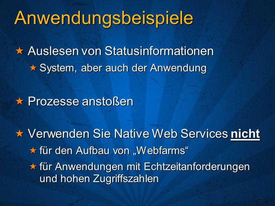 Anwendungsbeispiele Auslesen von Statusinformationen Auslesen von Statusinformationen System, aber auch der Anwendung System, aber auch der Anwendung Prozesse anstoßen Prozesse anstoßen Verwenden Sie Native Web Services nicht Verwenden Sie Native Web Services nicht für den Aufbau von Webfarms für den Aufbau von Webfarms für Anwendungen mit Echtzeitanforderungen und hohen Zugriffszahlen für Anwendungen mit Echtzeitanforderungen und hohen Zugriffszahlen