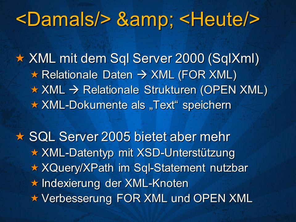 & & XML mit dem Sql Server 2000 (SqlXml) XML mit dem Sql Server 2000 (SqlXml) Relationale Daten XML (FOR XML) Relationale Daten XML (FOR XML)