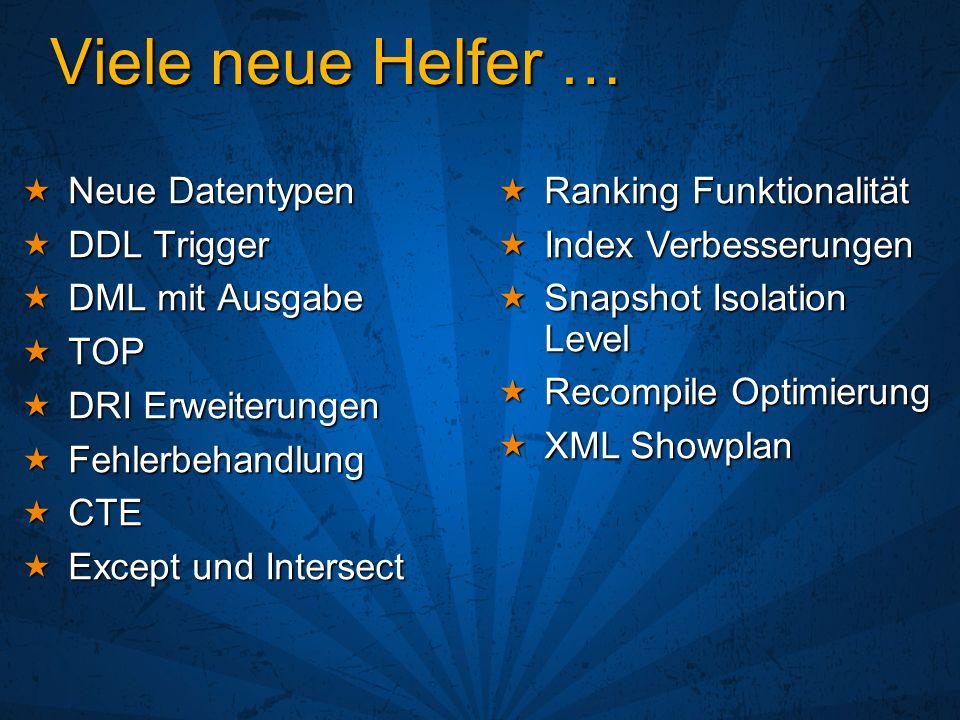 Native Web Services Interessant hinsichtlich Interoperabilität Interessant hinsichtlich Interoperabilität Getestet mit: Jbuilder 9, Axis 1.1, Perl, … Getestet mit: Jbuilder 9, Axis 1.1, Perl, … SOAP/HTTP SOAP/HTTP Läuft ohne IIS Läuft ohne IIS ~%40 schneller als SQLXML ~%40 schneller als SQLXML SQLXML bleibt bestehen SQLXML bleibt bestehen Updategrams, Bulkload, Query strings in URL Updategrams, Bulkload, Query strings in URL