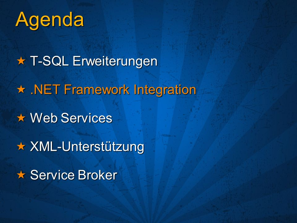 & & XML mit dem Sql Server 2000 (SqlXml) XML mit dem Sql Server 2000 (SqlXml) Relationale Daten XML (FOR XML) Relationale Daten XML (FOR XML) XML Relationale Strukturen (OPEN XML) XML Relationale Strukturen (OPEN XML) XML-Dokumente als Text speichern XML-Dokumente als Text speichern SQL Server 2005 bietet aber mehr SQL Server 2005 bietet aber mehr XML-Datentyp mit XSD-Unterstützung XML-Datentyp mit XSD-Unterstützung XQuery/XPath im Sql-Statement nutzbar XQuery/XPath im Sql-Statement nutzbar Indexierung der XML-Knoten Indexierung der XML-Knoten Verbesserung FOR XML und OPEN XML Verbesserung FOR XML und OPEN XML