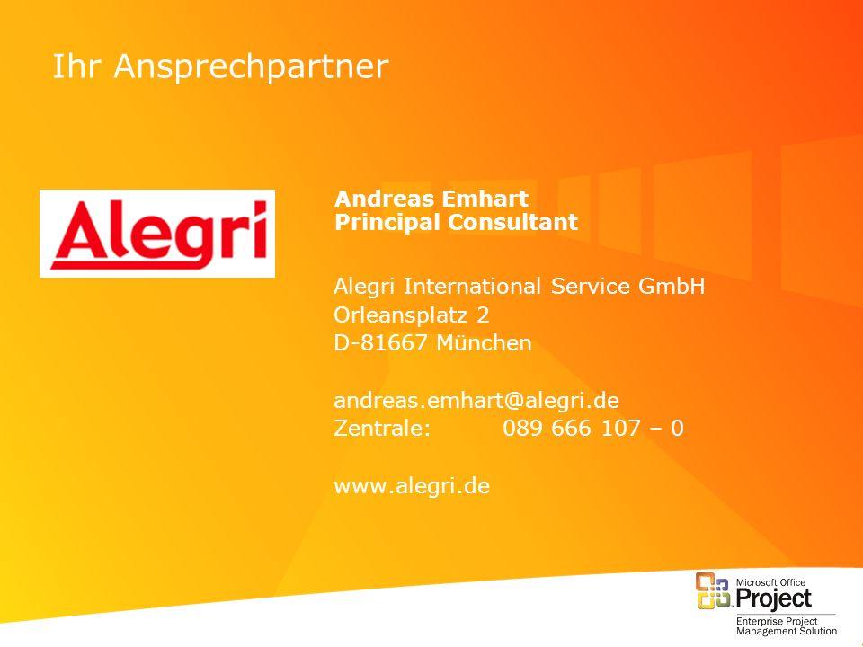 Ihr Ansprechpartner Andreas Emhart Principal Consultant Alegri International Service GmbH Orleansplatz 2 D-81667 München andreas.emhart@alegri.de Zent