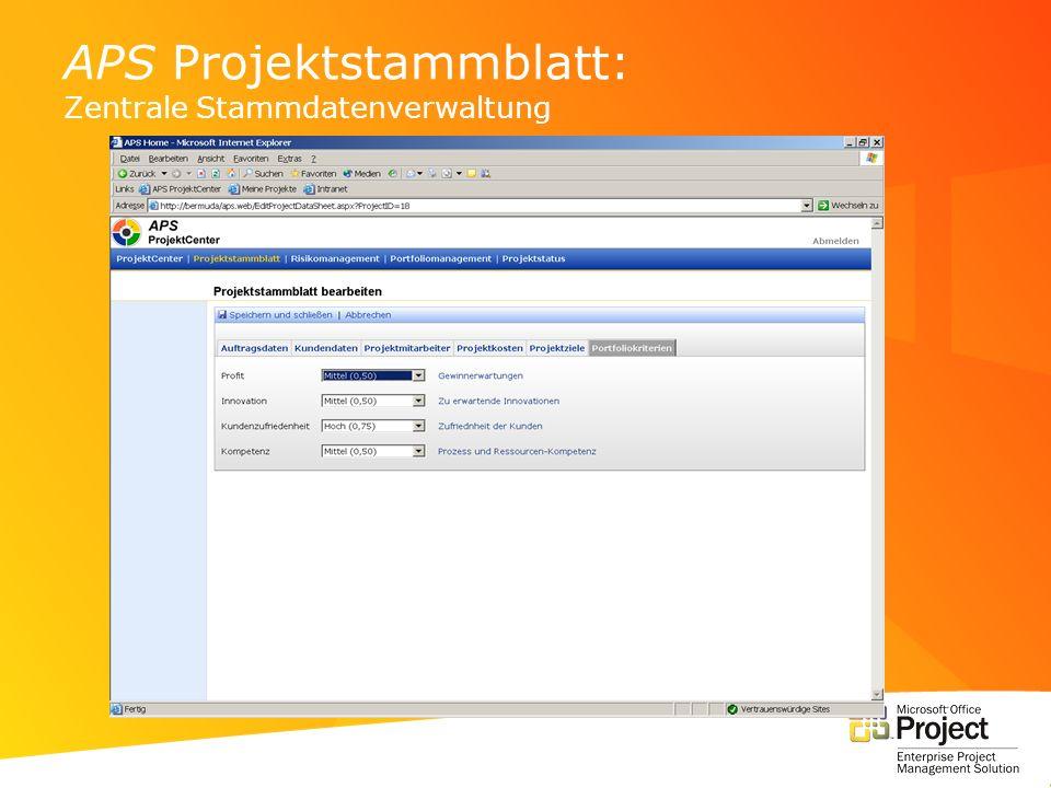 APS Projektstammblatt: Zentrale Stammdatenverwaltung