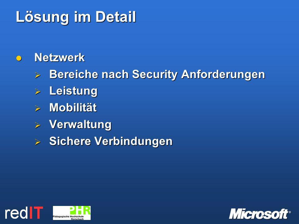 Lösung im Detail Netzwerk Netzwerk Bereiche nach Security Anforderungen Bereiche nach Security Anforderungen Leistung Leistung Mobilität Mobilität Verwaltung Verwaltung Sichere Verbindungen Sichere Verbindungen