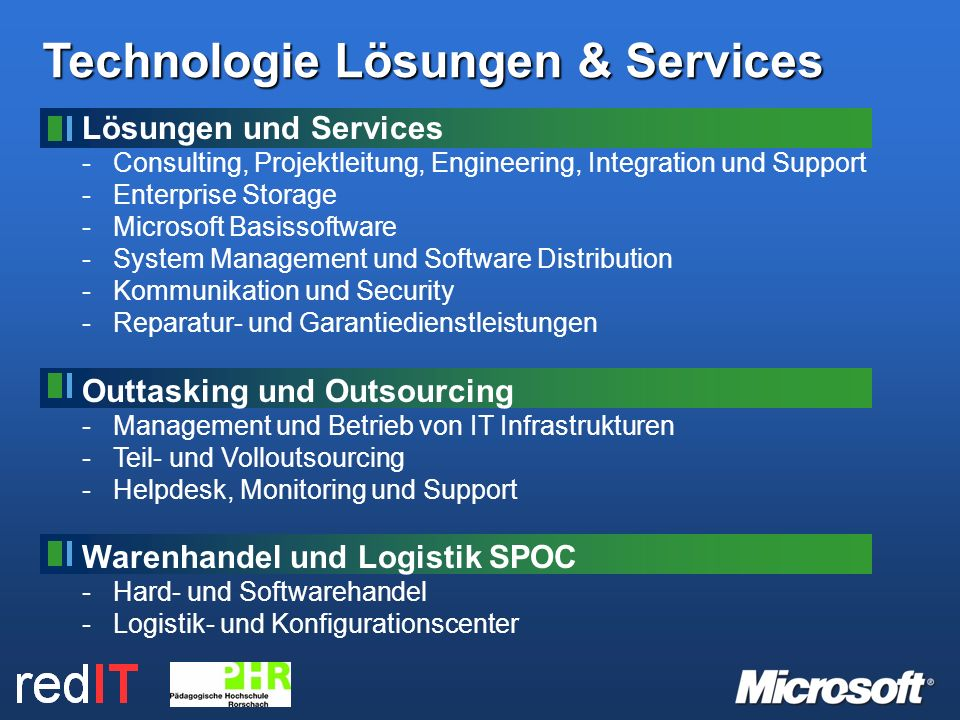 Technologie Lösungen & Services Lösungen und Services -Consulting, Projektleitung, Engineering, Integration und Support -Enterprise Storage -Microsoft Basissoftware -System Management und Software Distribution -Kommunikation und Security -Reparatur- und Garantiedienstleistungen Outtasking und Outsourcing -Management und Betrieb von IT Infrastrukturen -Teil- und Volloutsourcing -Helpdesk, Monitoring und Support Warenhandel und Logistik SPOC -Hard- und Softwarehandel -Logistik- und Konfigurationscenter