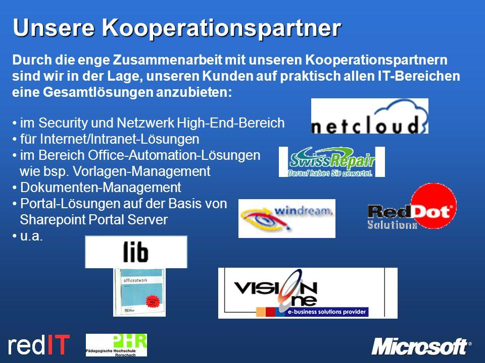 Durch die enge Zusammenarbeit mit unseren Kooperationspartnern sind wir in der Lage, unseren Kunden auf praktisch allen IT-Bereichen eine Gesamtlösungen anzubieten: im Security und Netzwerk High-End-Bereich für Internet/Intranet-Lösungen im Bereich Office-Automation-Lösungen wie bsp.