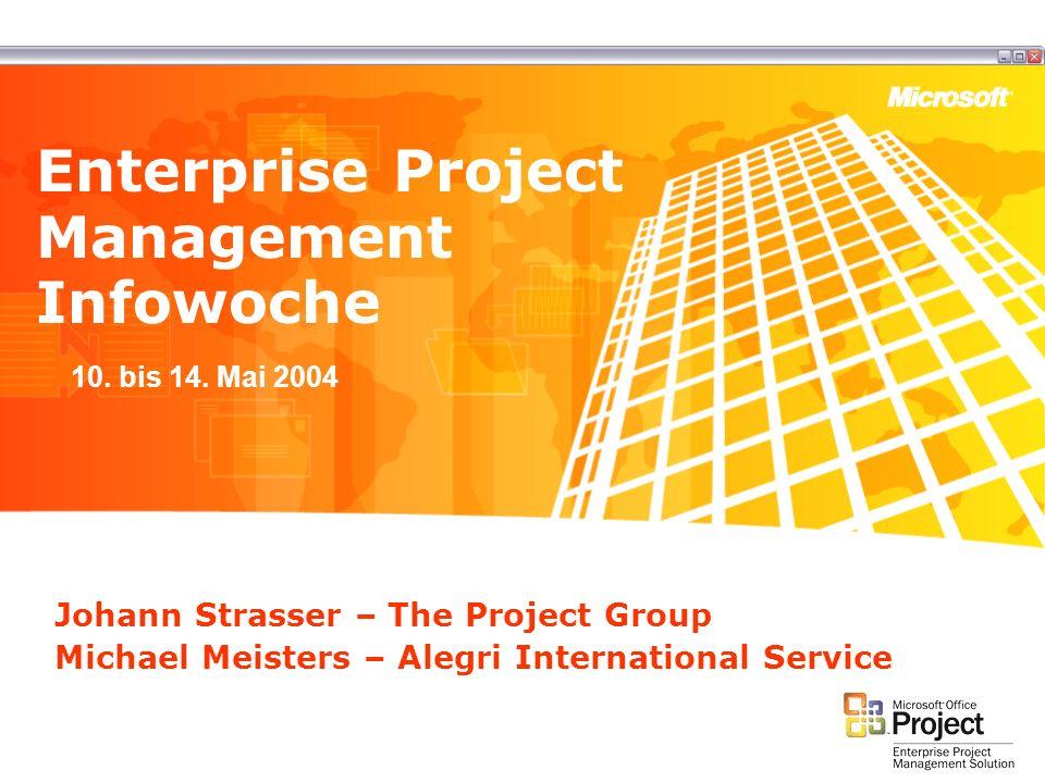Johann Strasser – The Project Group Michael Meisters – Alegri International Service Enterprise Project Management Infowoche 10. bis 14. Mai 2004
