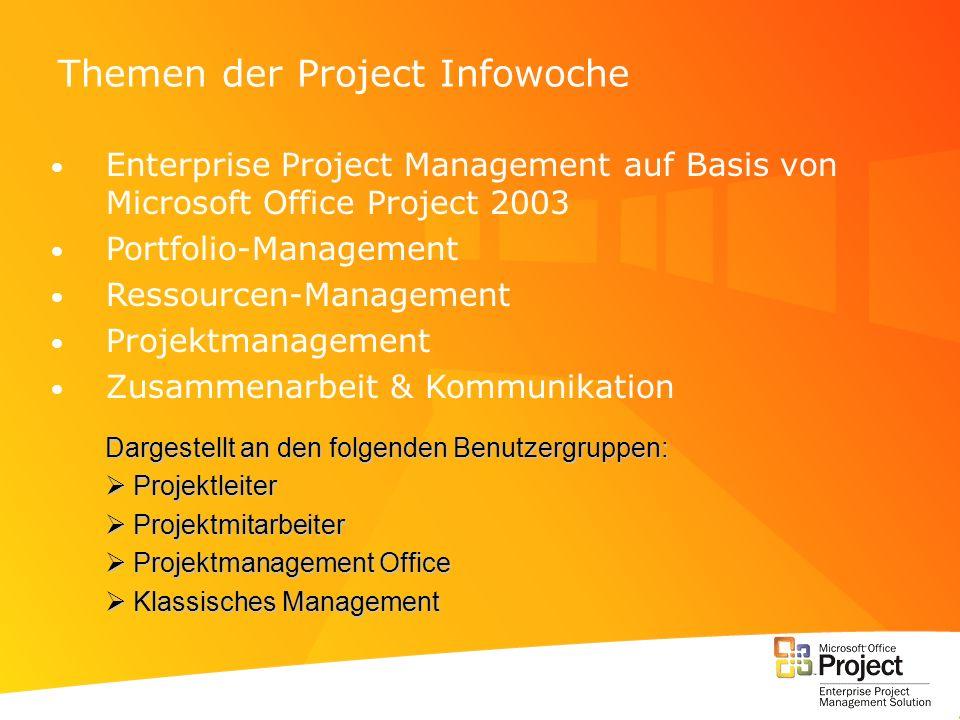 Themen der Project Infowoche Enterprise Project Management auf Basis von Microsoft Office Project 2003 Portfolio-Management Ressourcen-Management Proj