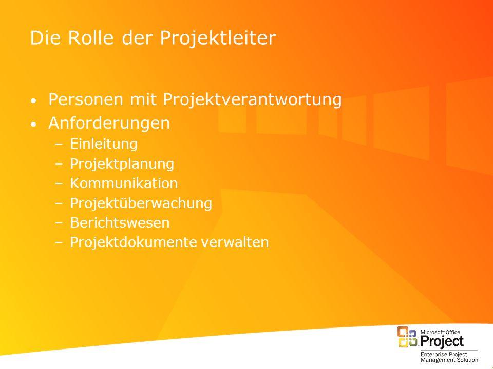 Die Rolle der Projektleiter Personen mit Projektverantwortung Anforderungen –Einleitung –Projektplanung –Kommunikation –Projektüberwachung –Berichtswe