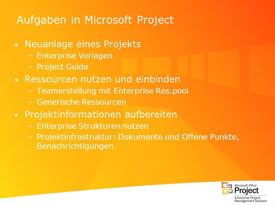 Aufgaben in Microsoft Project Neuanlage eines Projekts –Enterprise Vorlagen –Project Guide Ressourcen nutzen und einbinden –Teamerstellung mit Enterpr