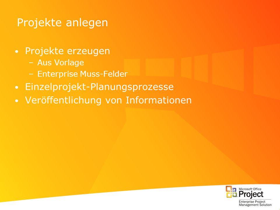 Projekte anlegen Projekte erzeugen –Aus Vorlage –Enterprise Muss-Felder Einzelprojekt-Planungsprozesse Veröffentlichung von Informationen