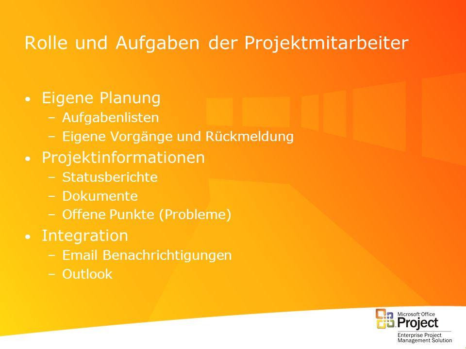 Rolle und Aufgaben der Projektmitarbeiter Eigene Planung –Aufgabenlisten –Eigene Vorgänge und Rückmeldung Projektinformationen –Statusberichte –Dokume