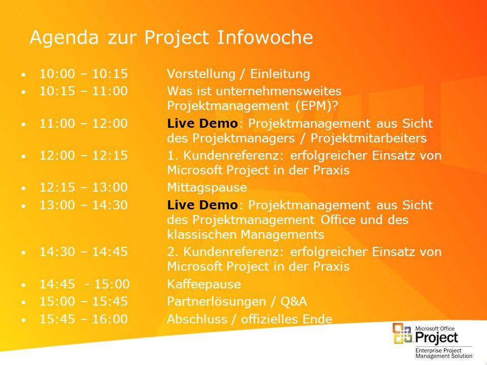 Agenda zur Project Infowoche 10:00 – 10:15Vorstellung / Einleitung 10:15 – 11:00Was ist unternehmensweites Projektmanagement (EPM)? 11:00 – 12:00Live