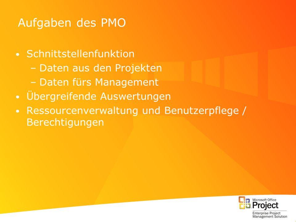 Aufgaben des PMO Schnittstellenfunktion –Daten aus den Projekten –Daten fürs Management Übergreifende Auswertungen Ressourcenverwaltung und Benutzerpf