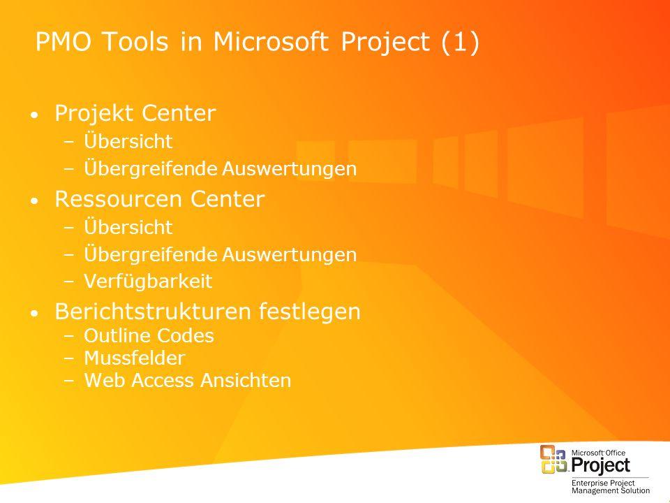 PMO Tools in Microsoft Project (1) Projekt Center –Übersicht –Übergreifende Auswertungen Ressourcen Center –Übersicht –Übergreifende Auswertungen –Ver