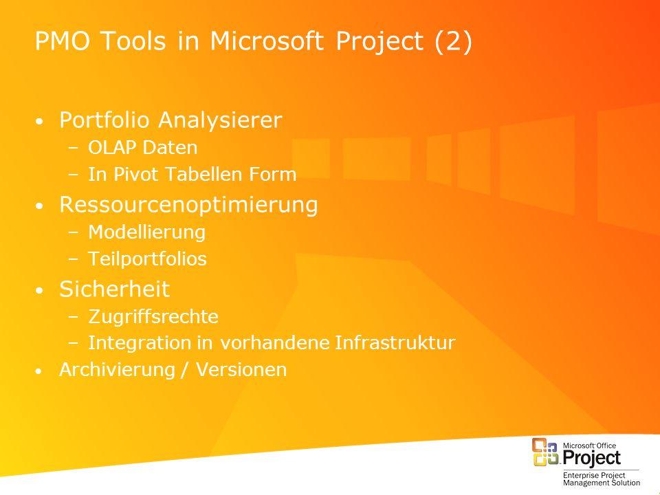 PMO Tools in Microsoft Project (2) Portfolio Analysierer –OLAP Daten –In Pivot Tabellen Form Ressourcenoptimierung –Modellierung –Teilportfolios Siche
