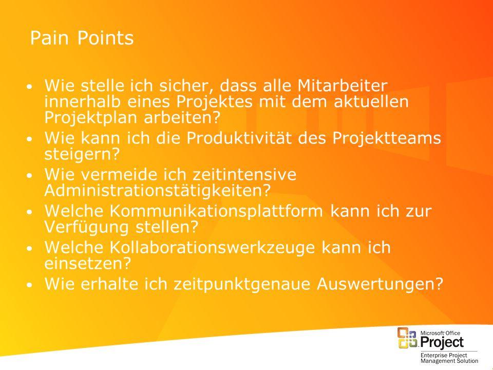 Pain Points Wie stelle ich sicher, dass alle Mitarbeiter innerhalb eines Projektes mit dem aktuellen Projektplan arbeiten? Wie kann ich die Produktivi