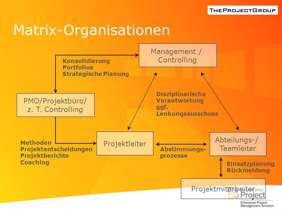 Matrix-Organisationen Management / Controlling Projektleiter Projektmitarbeiter PMO/Projektbüro/ z. T. Controlling MethodenProjektentscheidungenProjek