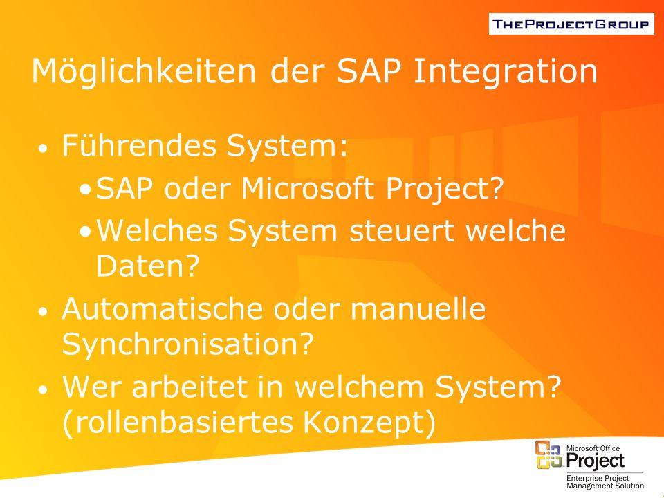 Möglichkeiten der SAP Integration Führendes System: SAP oder Microsoft Project? Welches System steuert welche Daten? Automatische oder manuelle Synchr