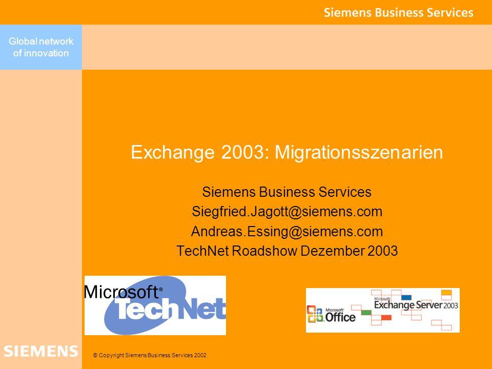 Global network of innovation 12 Exchange 2003 @ Siemens Any4 Vision: Anyone, Anywhere, Anytime, Any Resource Any4Vision Ein unternehmensweites Windows/Exchange Konzept Reduktion der Kosten durch Standardisierung (ca.