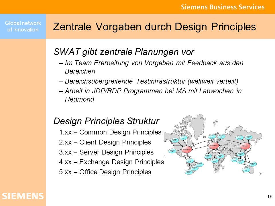 Global network of innovation 16 Zentrale Vorgaben durch Design Principles SWAT gibt zentrale Planungen vor –Im Team Erarbeitung von Vorgaben mit Feedb