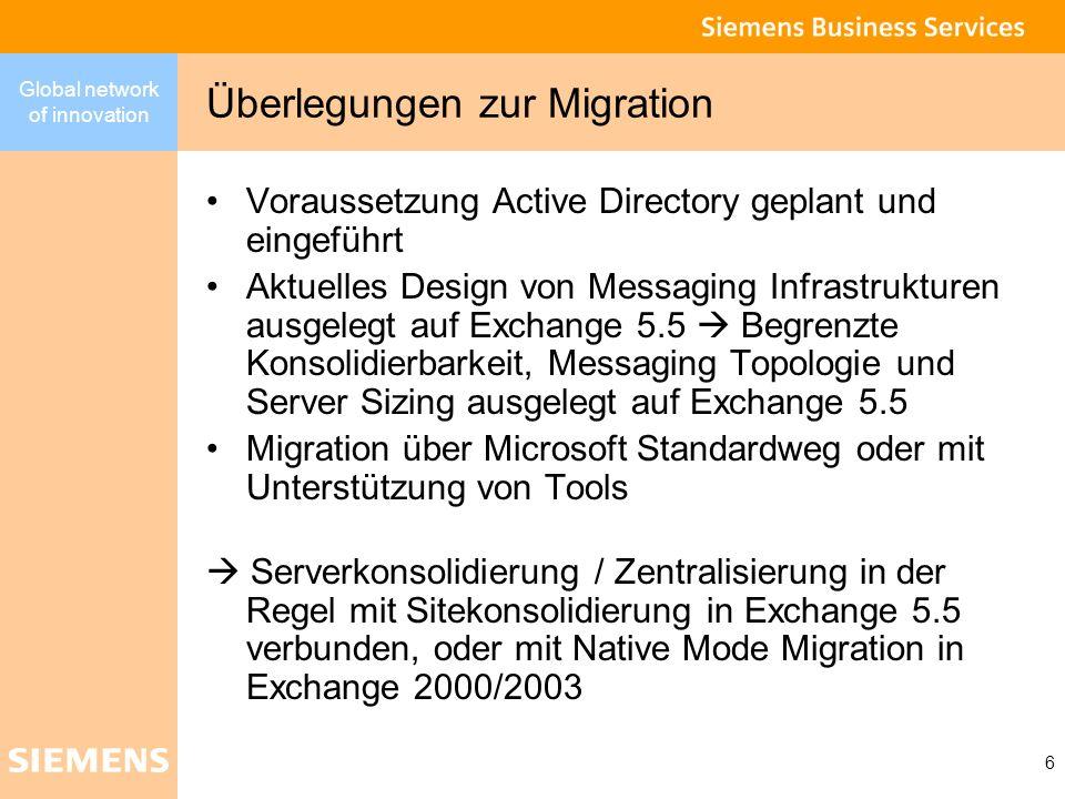 Global network of innovation 7 Migrationsszenarien Einführung über die Standardmethoden von MS Migration mit Unterstützung von Migrationstools zum Umbau von Messaging Infrastrukturen unter Berücksichtigung neuer HW Technologien Stärkere Konsolidierung Bessere Netze Stärkere Konsolidierung