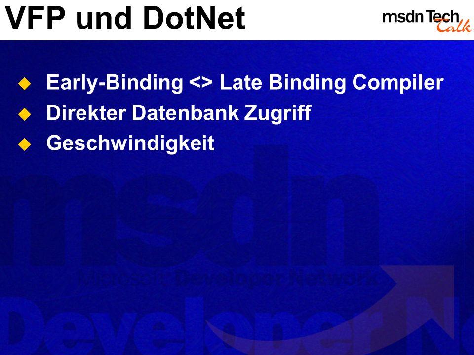 VFP und DotNet Early-Binding <> Late Binding Compiler Direkter Datenbank Zugriff Geschwindigkeit
