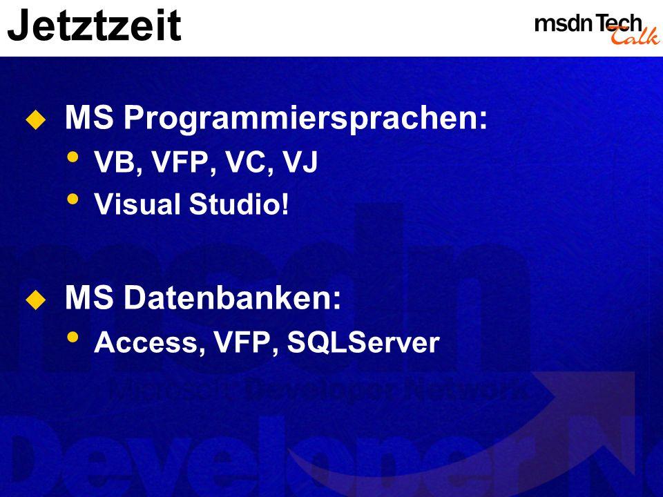 Jetztzeit MS Programmiersprachen: VB, VFP, VC, VJ Visual Studio! MS Datenbanken: Access, VFP, SQLServer