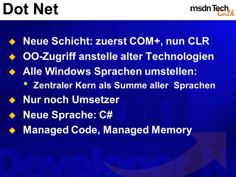 Dot Net Neue Schicht: zuerst COM+, nun CLR OO-Zugriff anstelle alter Technologien Alle Windows Sprachen umstellen: Zentraler Kern als Summe aller Spra