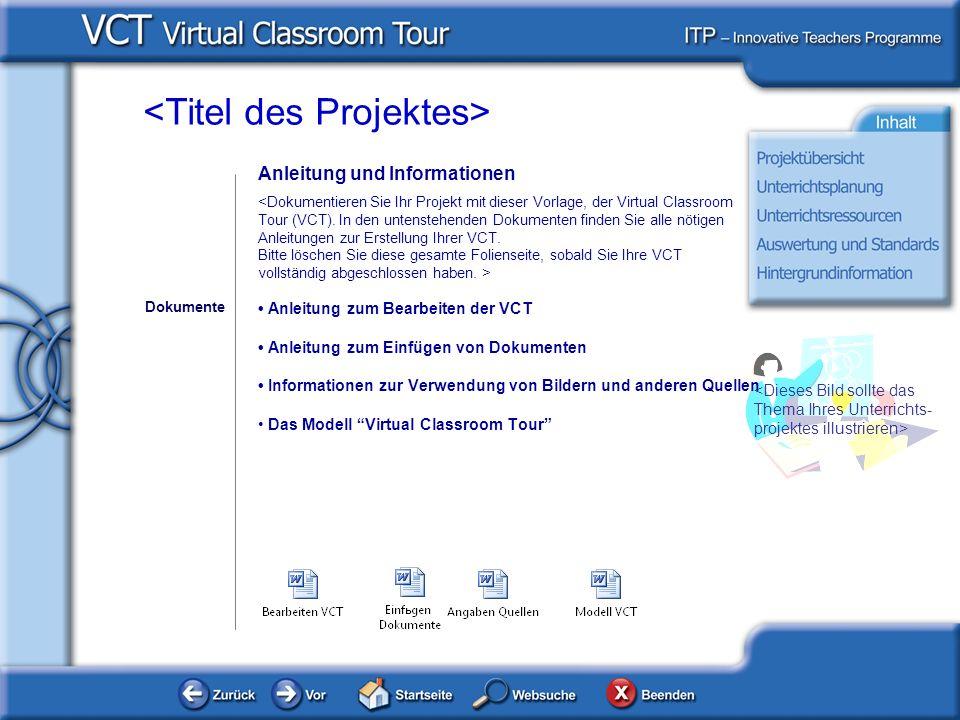 Anleitung und Informationen Anleitung zum Bearbeiten der VCT Anleitung zum Einfügen von Dokumenten Informationen zur Verwendung von Bildern und anderen Quellen Das Modell Virtual Classroom Tour Dokumente